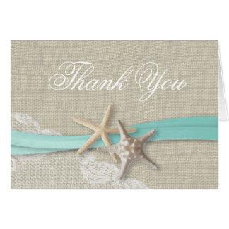 Starfish Lace and Ribbon Thank You Card