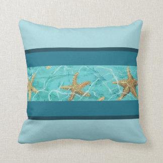 "Starfish Light Blue Designer Throw Pillow 16"" x 16"