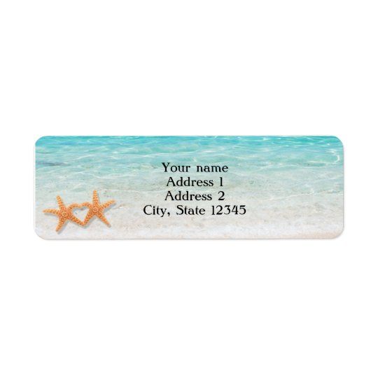 Starfish Love Ocean Beach Wedding Address Labels