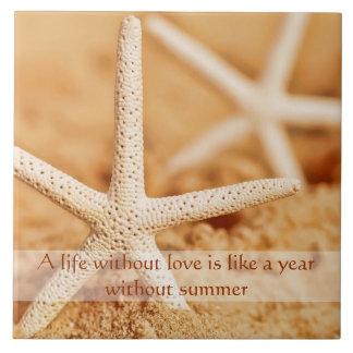 Starfish Love Proverb Trivet Ceramic Tile