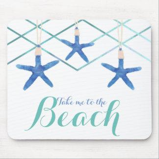 Starfish & Modern Lines Elegant Beach Custom Mouse Pad