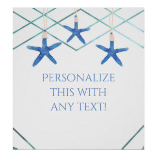 Starfish & Modern Lines Elegant Beach Party Banner Poster