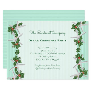 Starfish n Holly Borders Office Christmas Party Card