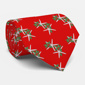 Starfish n Holly Bright Red Christmas Season Tie