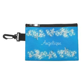 Starfish name blue white bubble accessory bag