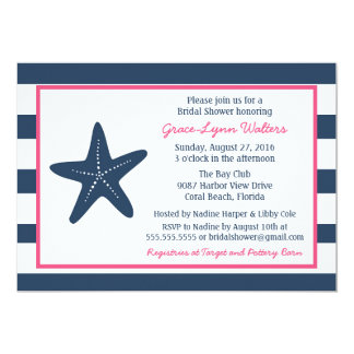 Starfish Nautical Shower Invitation, Navy and Pink Card