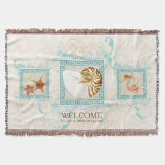 Starfish Nautilus Conch Shell Ocean Personalized Throw Blanket
