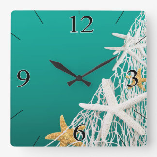 Starfish Netting Beach Coastal Living | aqua Square Wall Clock
