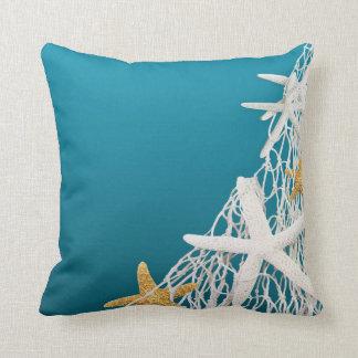 Starfish Netting Beach Wedding   azure blue Throw Pillows