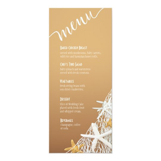 Starfish Netting Beach Wedding Menu | sand Card