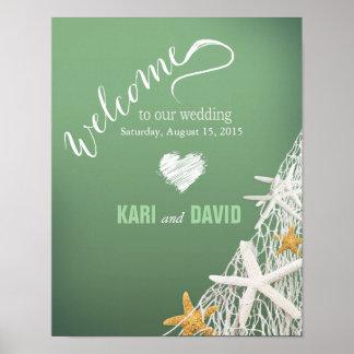 Starfish Netting Beach Wedding Welcome Sign | jade Poster