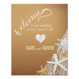 Starfish Netting Beach Wedding Welcome Sign | sand Poster