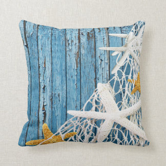Starfish Netting Beach Wood | blue Cushion