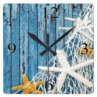 Starfish Netting Beach Wood Coastal Living   blue Square Wall Clock