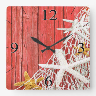 Starfish Netting Beach Wood Coastal Living   coral Square Wall Clock