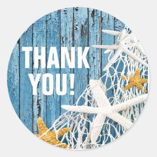 Starfish Netting Beach Wood Thank You | blue Round Sticker