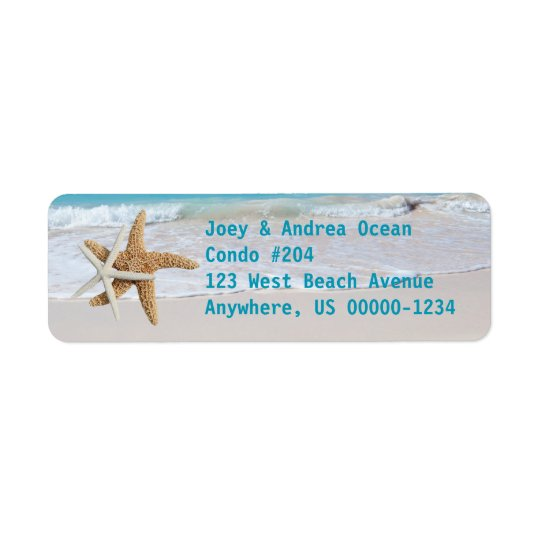 Starfish Ocean Water Holiday Return Address Labels