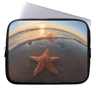 Starfish on Beach at Sunset Laptop Sleeve