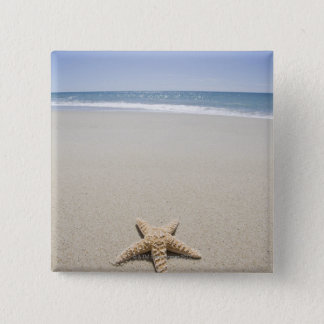 Starfish on beach by Atlantic Ocean 15 Cm Square Badge