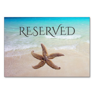 Starfish on Beach Reserved Seating Card Table Card