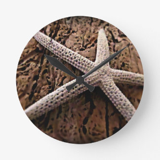 Starfish on Driftwood Round Clock
