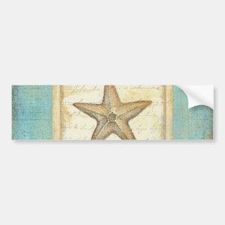 Starfish on Teal Wood Bumper Sticker