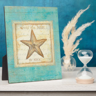 Starfish on Teal Wood Photo Plaques