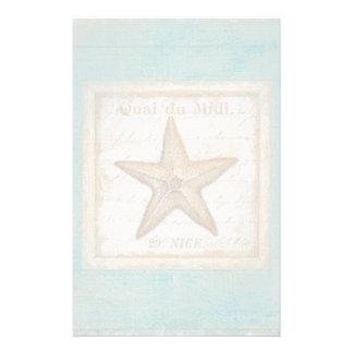 Starfish on Teal Wood Stationery