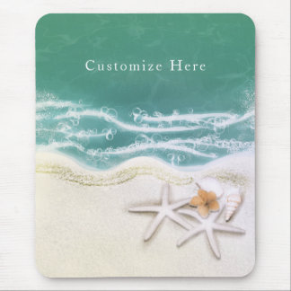 Starfish on the Beach Teal Sea Water Tropical Mouse Pad