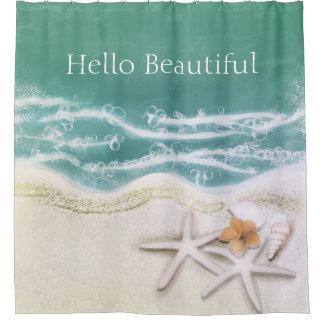 Starfish on the Beach Teal Sea Water Tropical Shower Curtain