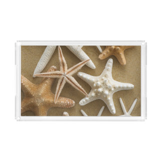 Starfish On The Sand Acrylic Tray