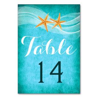 Starfish pair and veil beach wedding table number