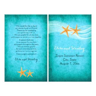 "Starfish pair destination beach folded program 8.5"" x 11"" flyer"
