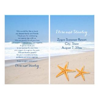 Starfish pair destination beach wedding program 21.5 cm x 28 cm flyer