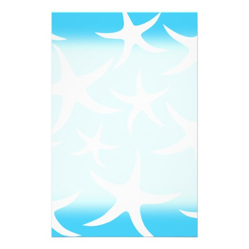 Starfish Pattern, Bright Turquoise Blue and White. Full Color Flyer