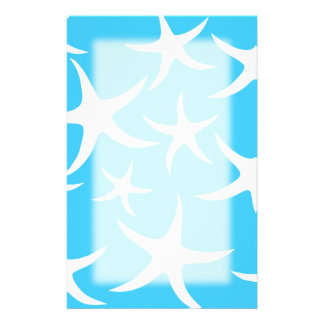 Starfish Pattern, Bright Turquoise Blue and White. Stationery Design