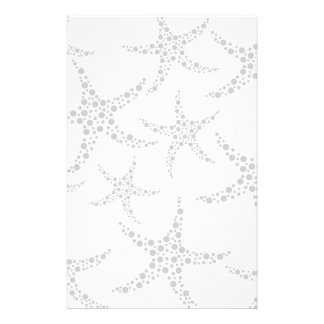 Starfish Pattern in Light Gray and White Stationery Paper