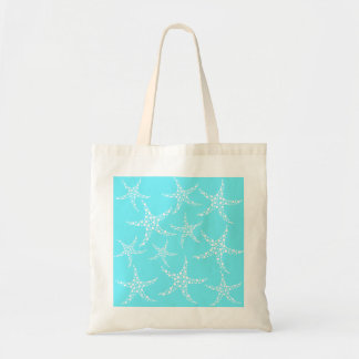 Starfish Pattern in Turquoise and White. Budget Tote Bag