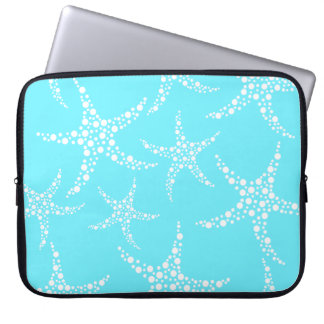 Starfish Pattern in Turquoise and White. Laptop Sleeve