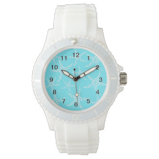 Starfish Pattern in Turquoise and White. Wrist Watches