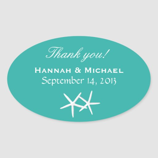 Starfish Personalised Lagoon Blue Oval Favour Labe Sticker