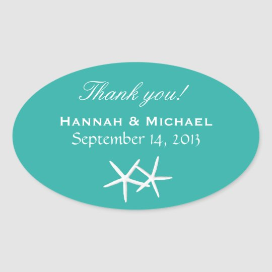 Starfish Personalised Lagoon Blue Oval Favour Oval Sticker