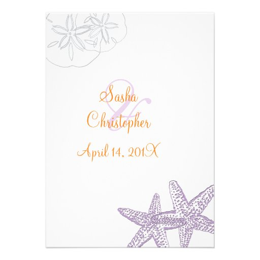Starfish/purple+orange/ Wedding Invitations