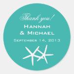 "Starfish Round ""Thank You"" Reception Favour Labels Round Sticker"