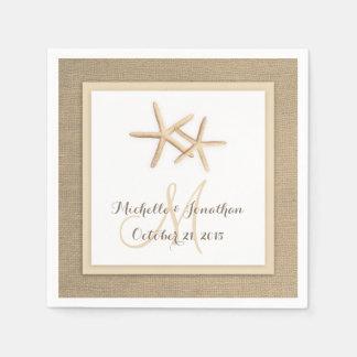 Starfish Rustic Burlap Beach Wedding Napkin Paper Napkin