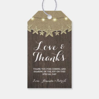 Starfish Rustic Lights Beach Wedding Thank You Gift Tags