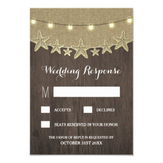 Starfish Rustic Lights Beach Wood RSVP Cards