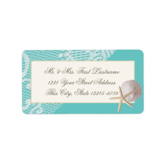 Starfish Sand Dollar and Lace Aqua Label