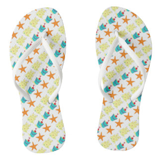 Starfish Sandcastle Sand Pail Summer Beach Print Thongs