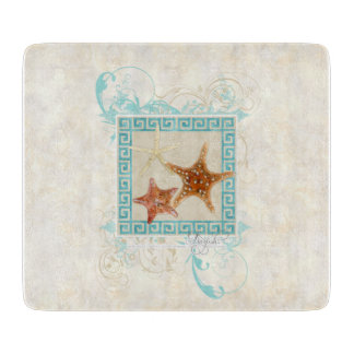 Starfish Sea Shells Ocean Greek Key Pattern Beach Cutting Board